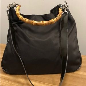 Gucci Brown 2 Way Bamboo Nylon Tote